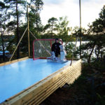 residential synthetic ice rink photos, goalie training on synthetic ice