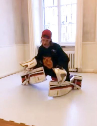 Goalie Slide on home Synthetic Ice