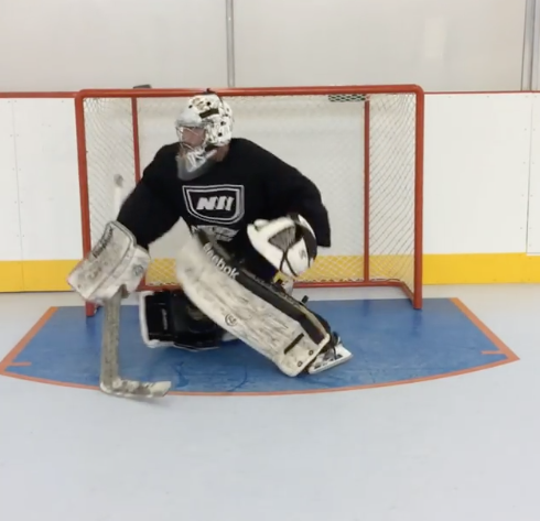 Goalie on Synthetic Ice Rink