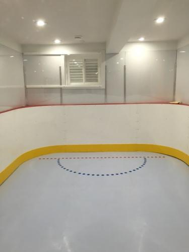 synthetic goalie crease in home basement