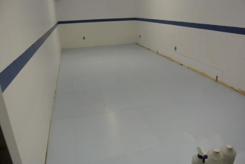 synthetic ice boards in basement