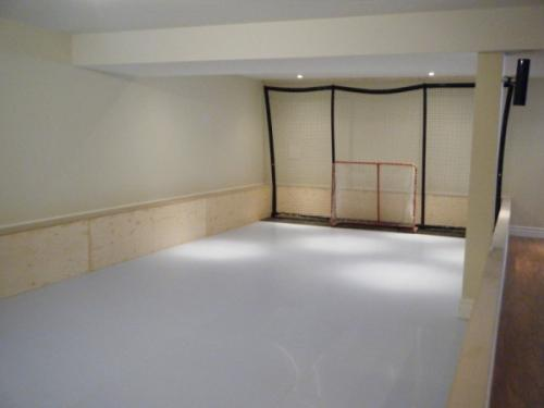 synthetic ice rink in basement