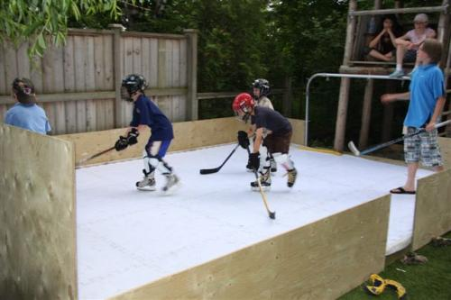 hockey training on home synthetic ice rink
