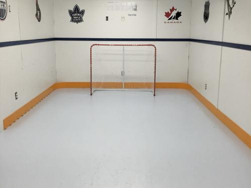 home basement synthetic ice shooting rink